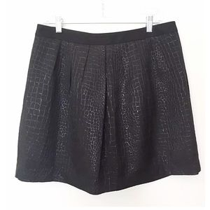MOSSIMO Blk Pleated Met Skirt Croc Pat Fully Lined